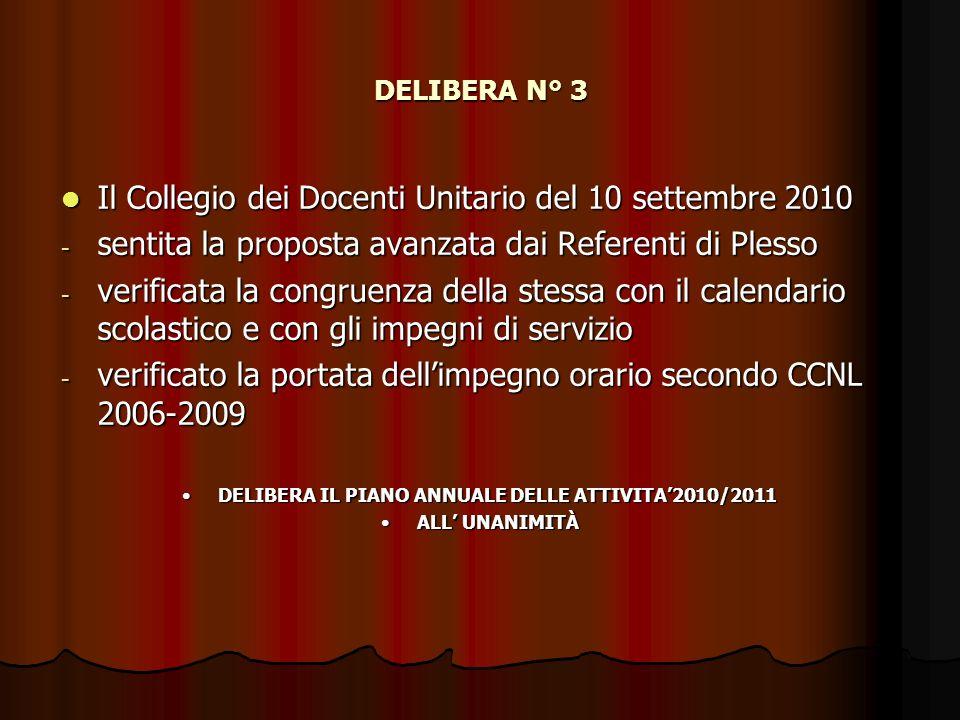 DELIBERA IL PIANO ANNUALE DELLE ATTIVITA'2010/2011
