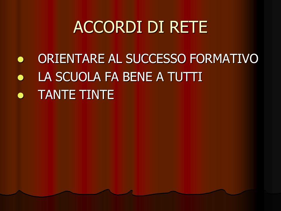 ACCORDI DI RETE ORIENTARE AL SUCCESSO FORMATIVO