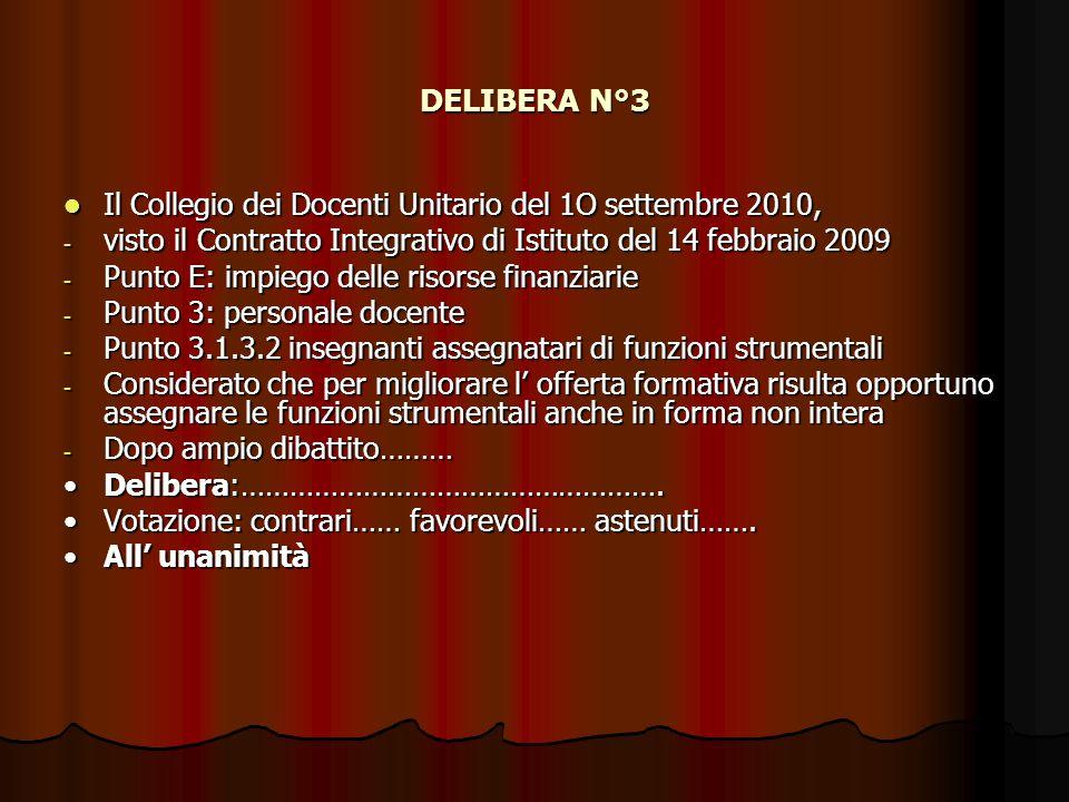 DELIBERA N°3 Il Collegio dei Docenti Unitario del 1O settembre 2010,