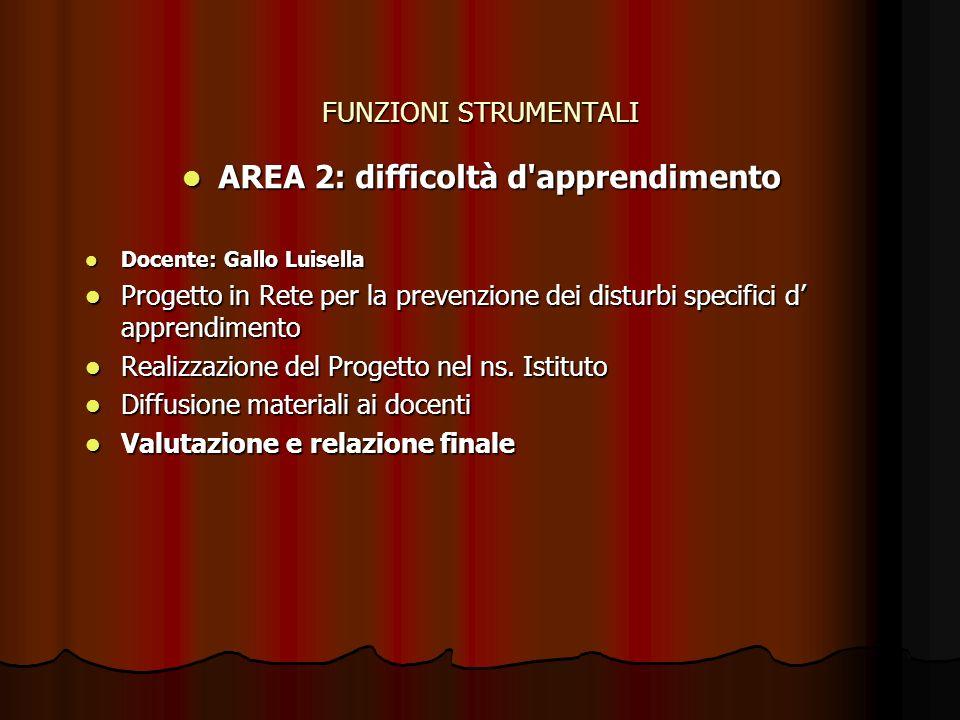 AREA 2: difficoltà d apprendimento