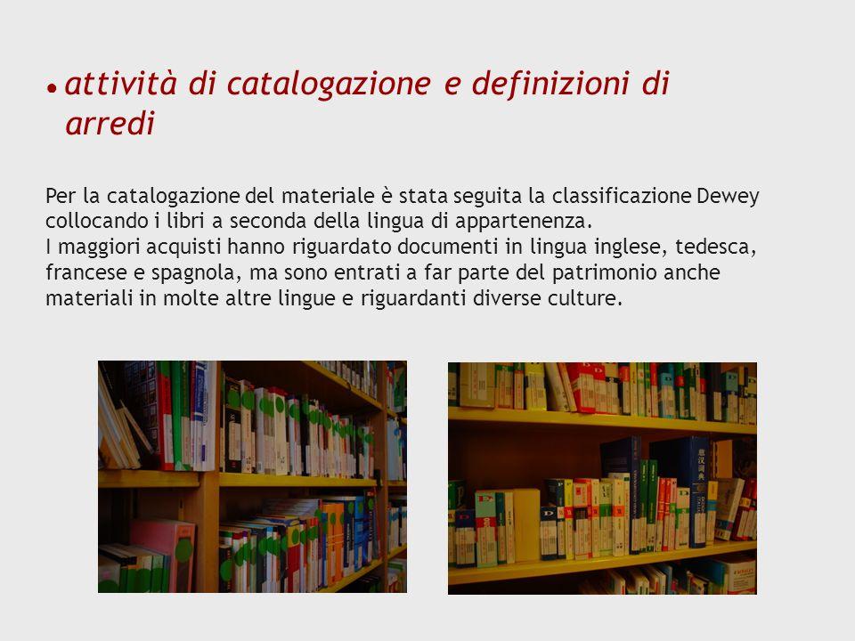 arredi ● attività di catalogazione e definizioni di