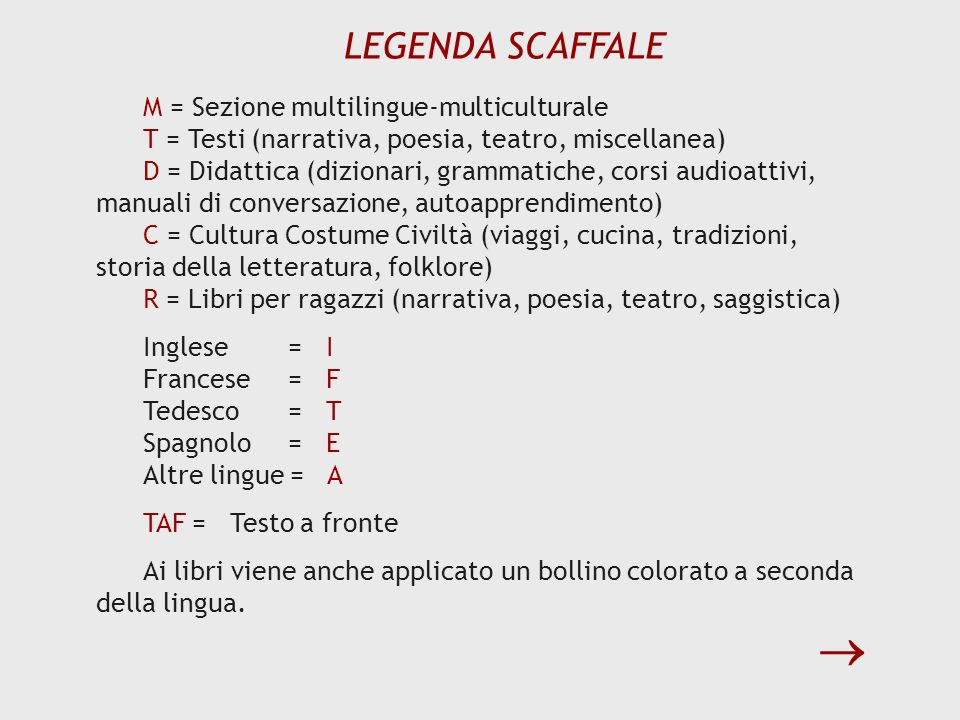  LEGENDA SCAFFALE M = Sezione multilingue-multiculturale