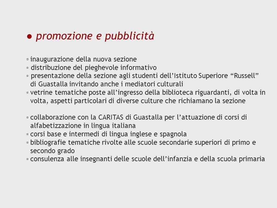 ● promozione e pubblicità