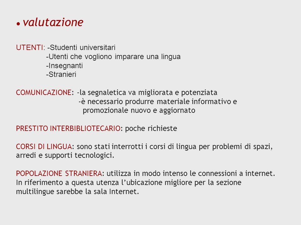 ● valutazione UTENTI: -Studenti universitari. -Utenti che vogliono imparare una lingua. -Insegnanti.