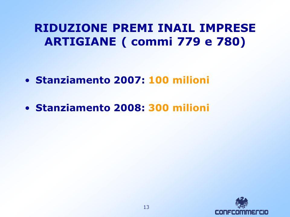 RIDUZIONE PREMI INAIL IMPRESE ARTIGIANE ( commi 779 e 780)
