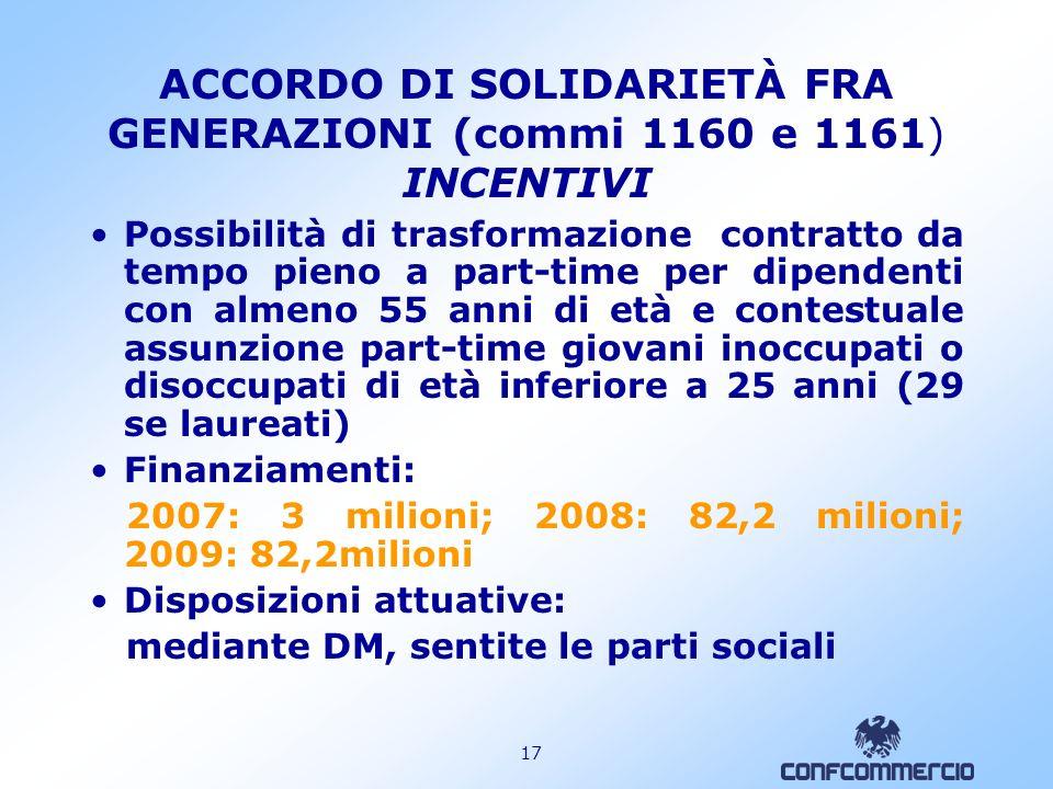 ACCORDO DI SOLIDARIETÀ FRA GENERAZIONI (commi 1160 e 1161) INCENTIVI