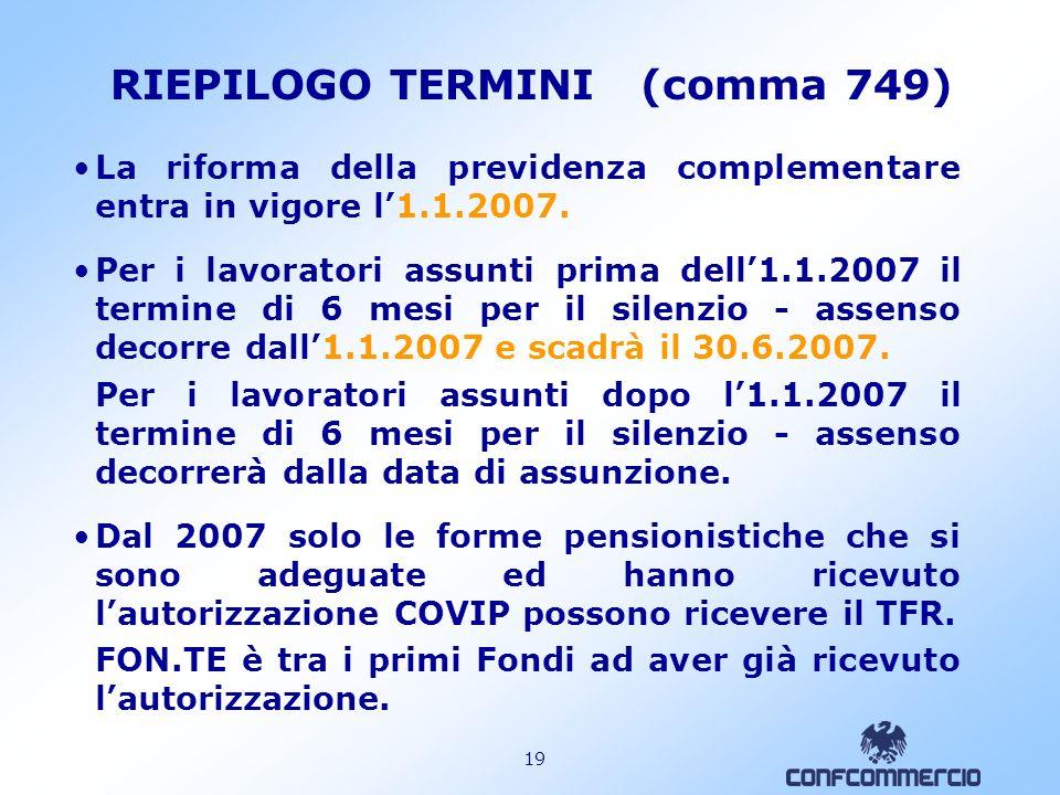 RIEPILOGO TERMINI (comma 749)