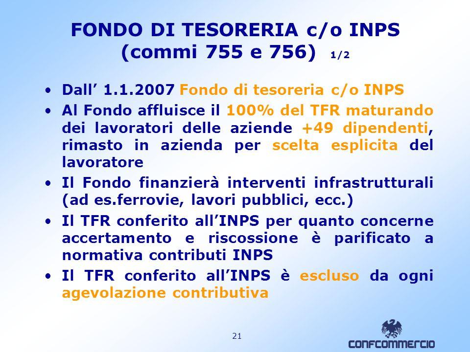 FONDO DI TESORERIA c/o INPS (commi 755 e 756) 1/2