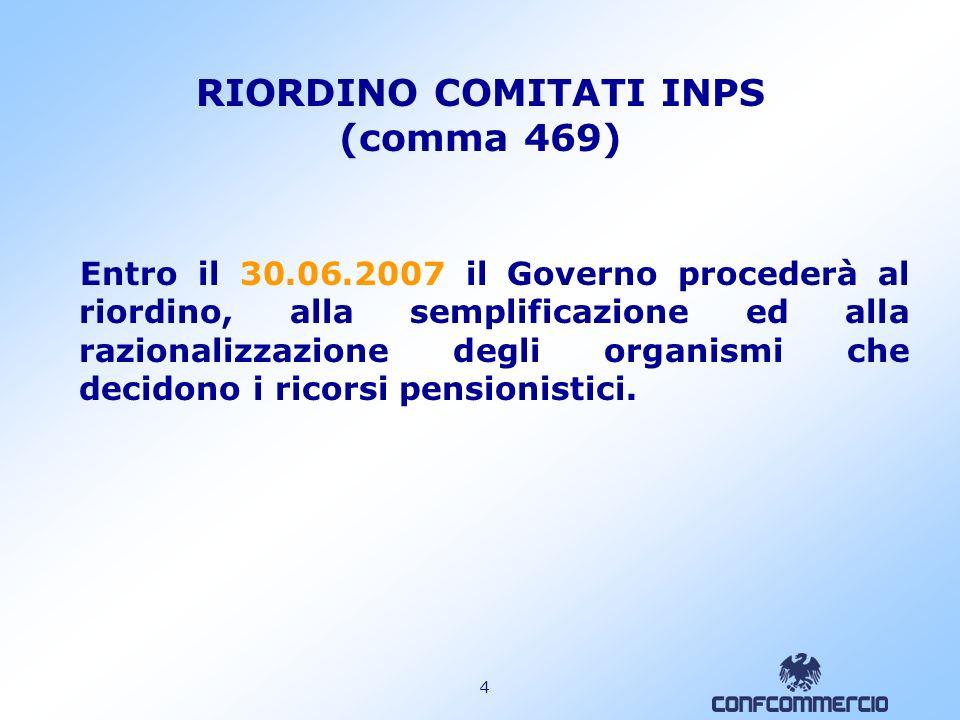 RIORDINO COMITATI INPS (comma 469)