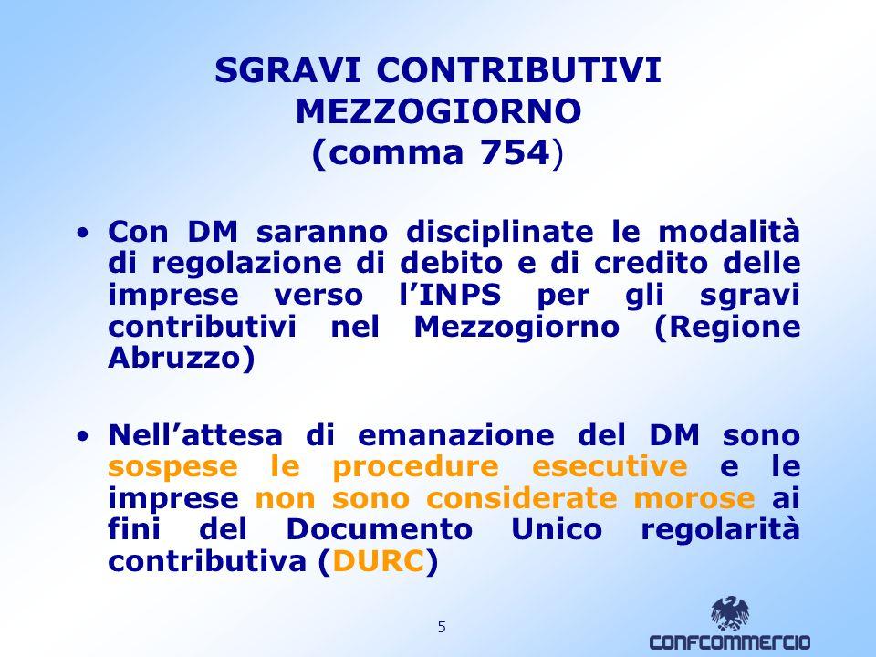 SGRAVI CONTRIBUTIVI MEZZOGIORNO (comma 754)