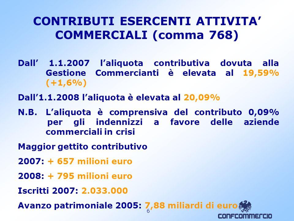 CONTRIBUTI ESERCENTI ATTIVITA' COMMERCIALI (comma 768)