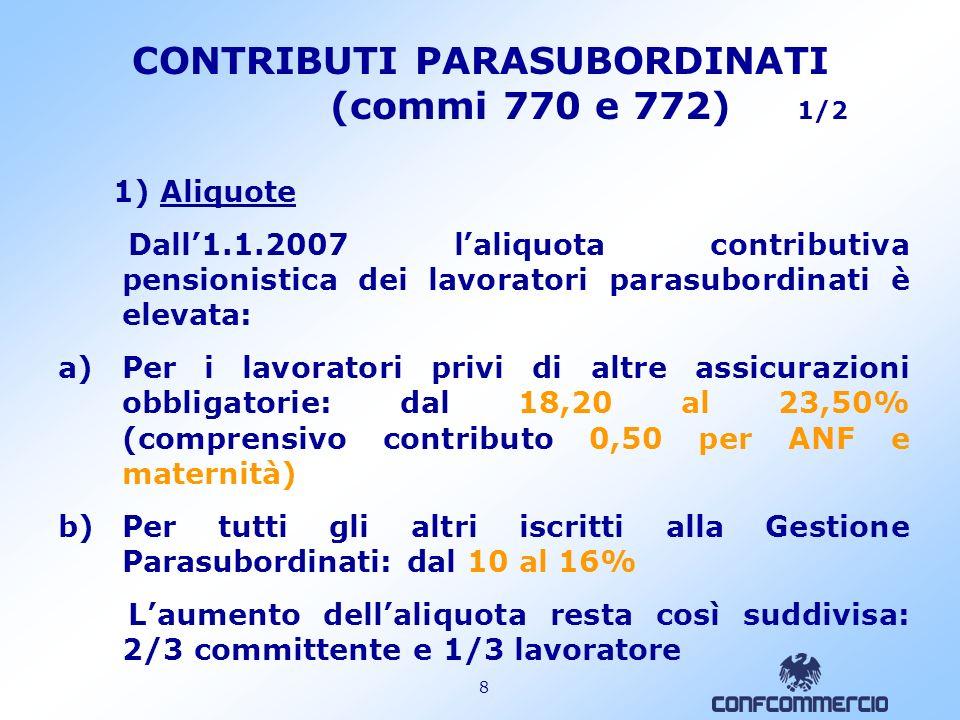 CONTRIBUTI PARASUBORDINATI (commi 770 e 772) 1/2