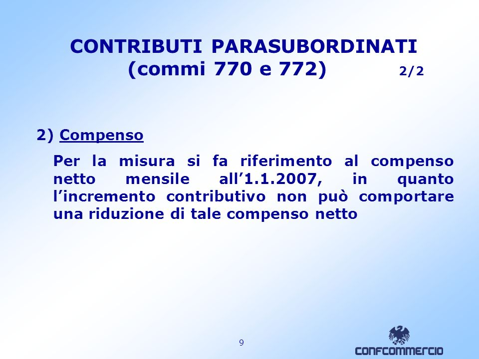 CONTRIBUTI PARASUBORDINATI (commi 770 e 772) 2/2