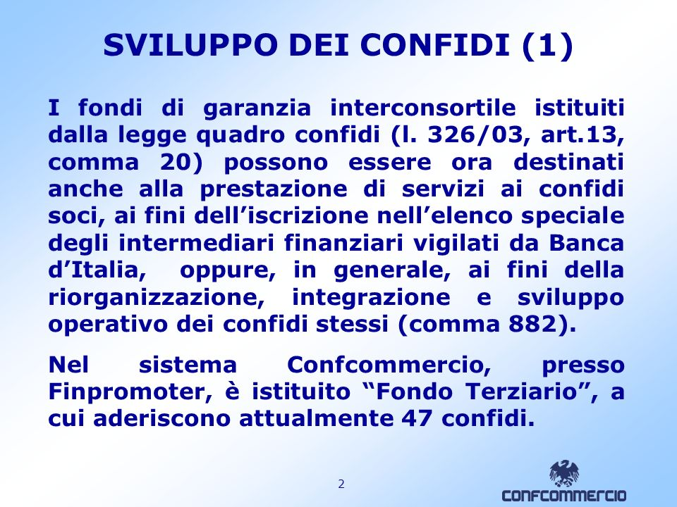 SVILUPPO DEI CONFIDI (1)