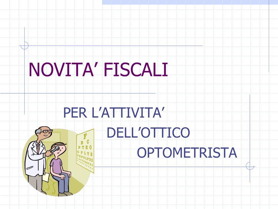 PER L'ATTIVITA' DELL'OTTICO OPTOMETRISTA