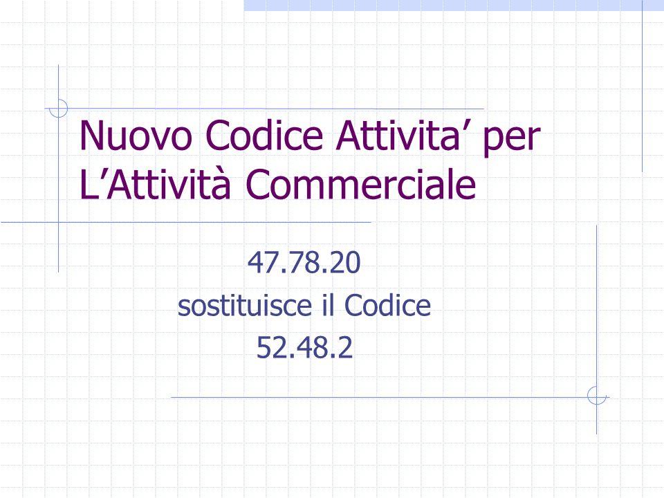 Nuovo Codice Attivita' per L'Attività Commerciale