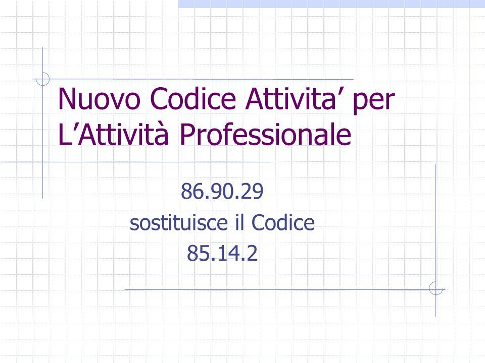 Nuovo Codice Attivita' per L'Attività Professionale