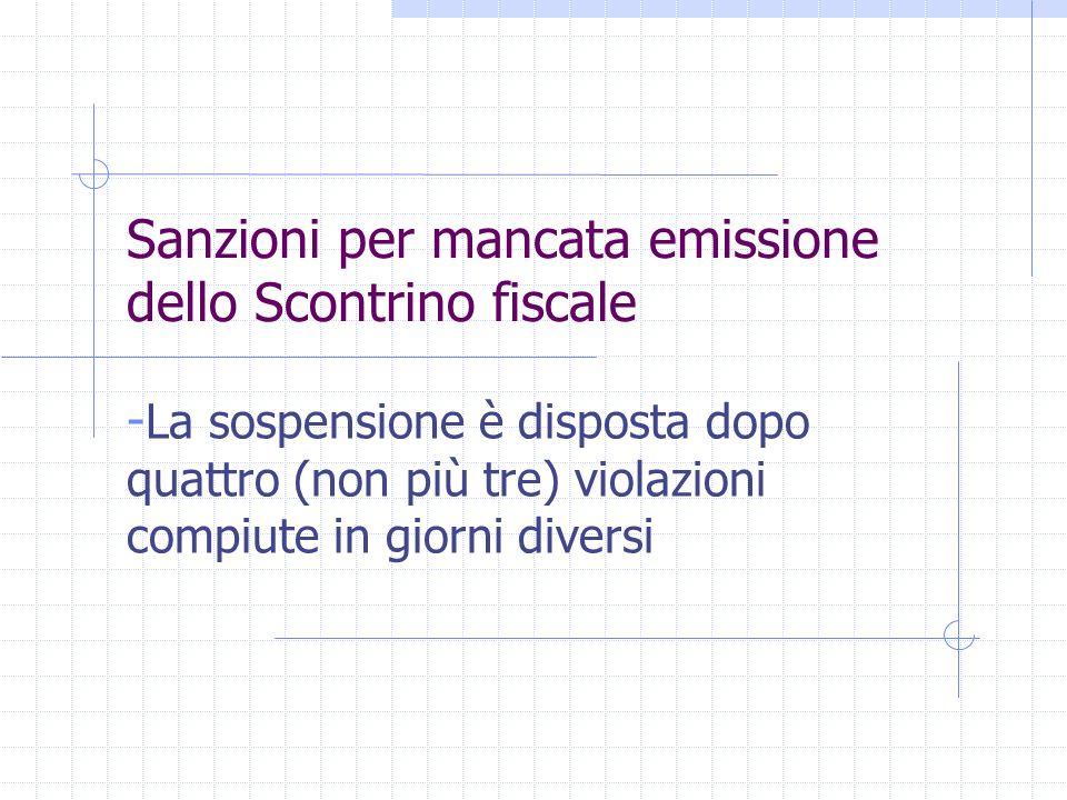 Sanzioni per mancata emissione dello Scontrino fiscale