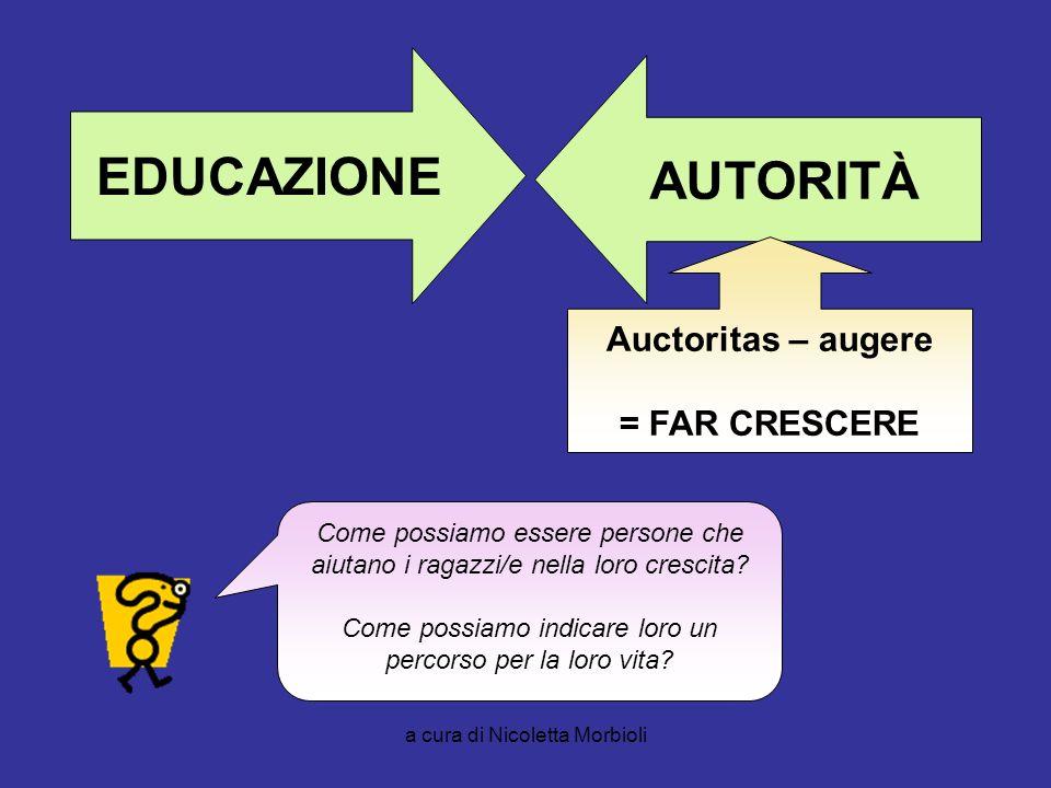 EDUCAZIONE AUTORITÀ Auctoritas – augere = FAR CRESCERE