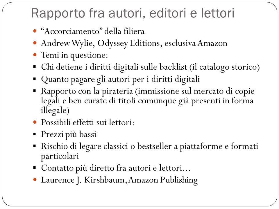 Rapporto fra autori, editori e lettori