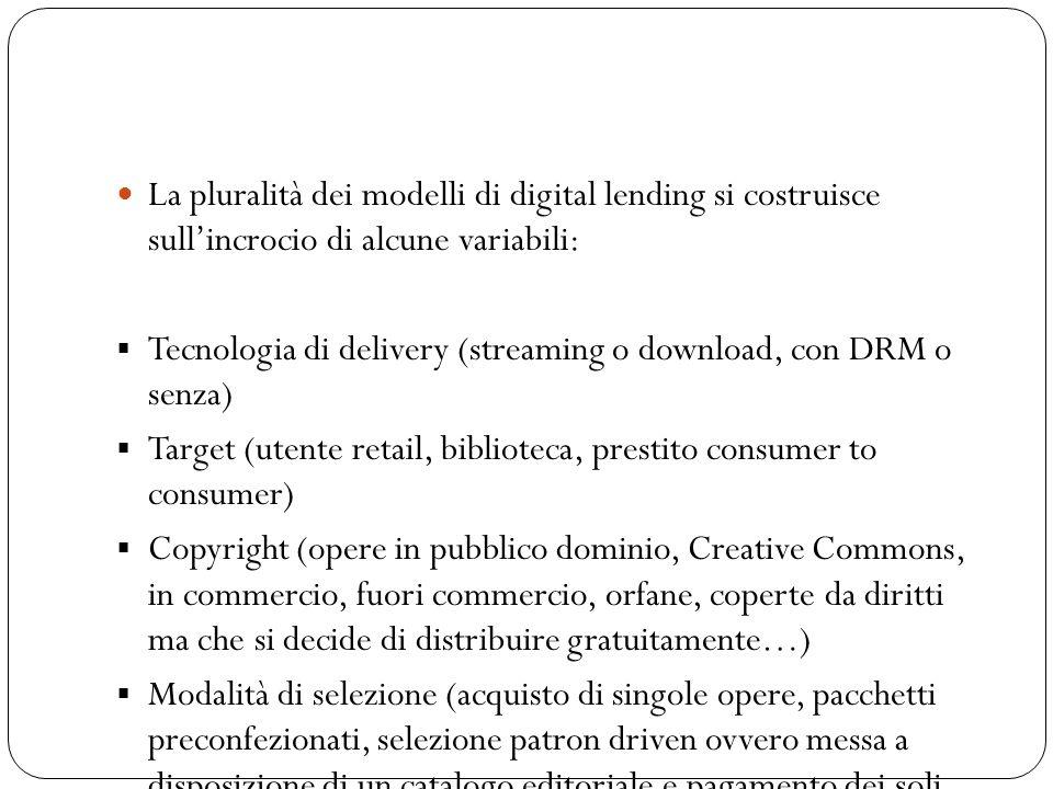 La pluralità dei modelli di digital lending si costruisce sull'incrocio di alcune variabili: