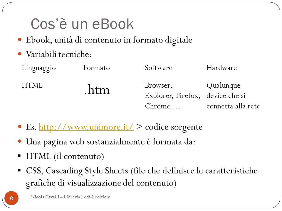 Cos'è un eBook .htm Ebook, unità di contenuto in formato digitale
