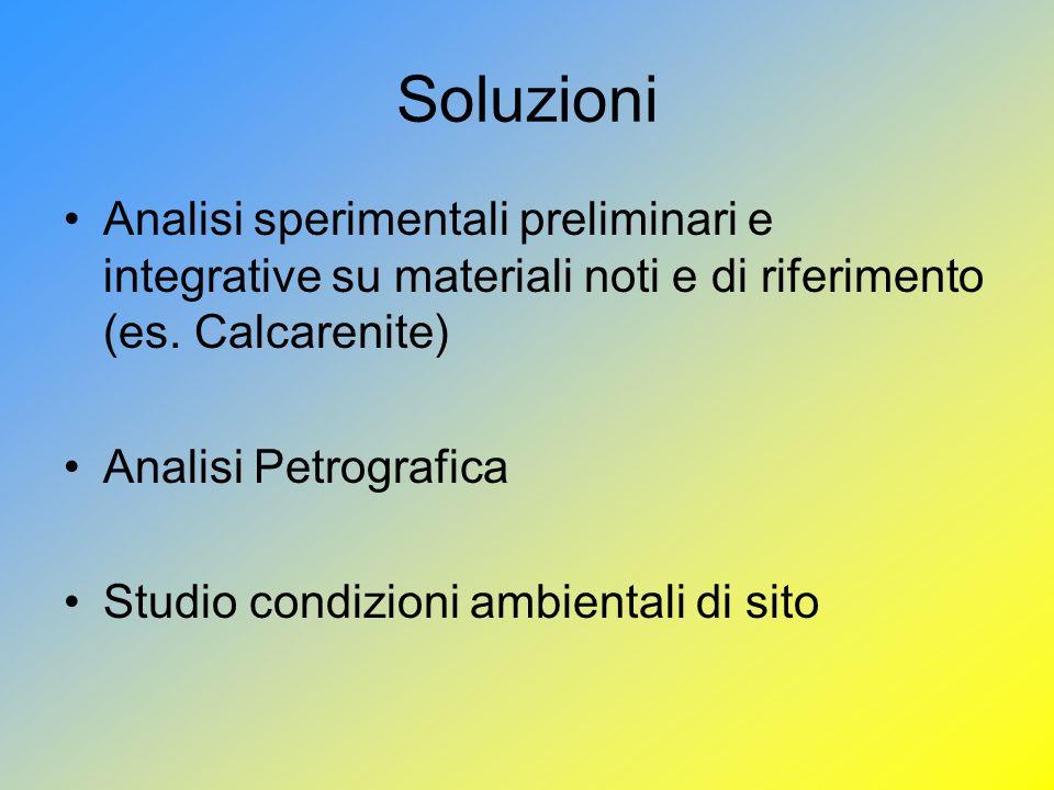 Soluzioni Analisi sperimentali preliminari e integrative su materiali noti e di riferimento (es. Calcarenite)