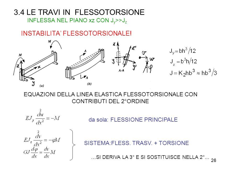 3.4 LE TRAVI IN FLESSOTORSIONE INFLESSA NEL PIANO xz CON Jy>>Jz