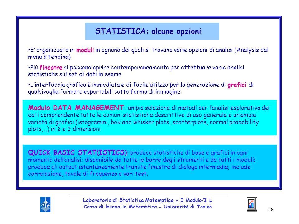 STATISTICA: alcune opzioni