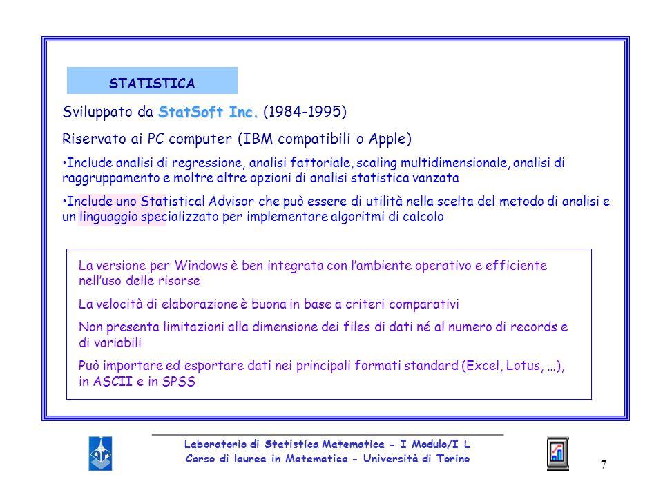 Sviluppato da StatSoft Inc. (1984-1995)