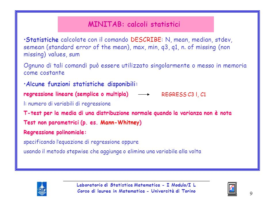 MINITAB: calcoli statistici
