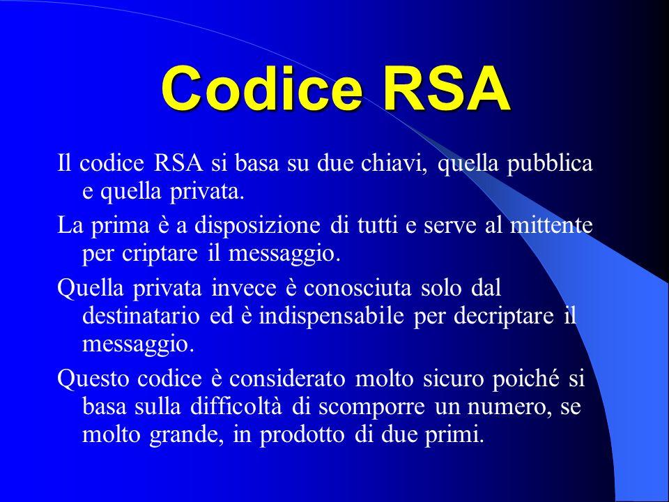 Codice RSA Il codice RSA si basa su due chiavi, quella pubblica e quella privata.