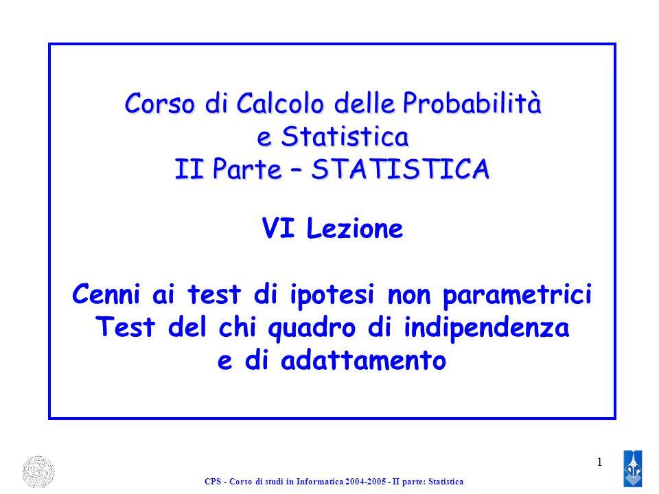 Corso di Calcolo delle Probabilità e Statistica II Parte – STATISTICA