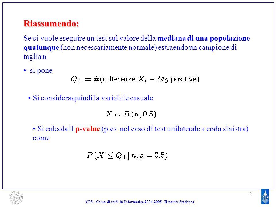 CPS - Corso di studi in Informatica 2004-2005 - II parte: Statistica