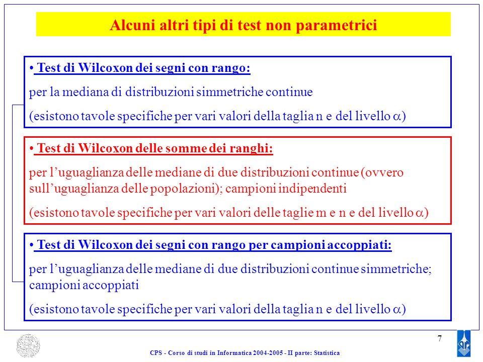 Alcuni altri tipi di test non parametrici