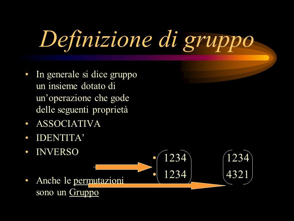 Definizione di gruppo In generale si dice gruppo un insieme dotato di un'operazione che gode delle seguenti proprietà.