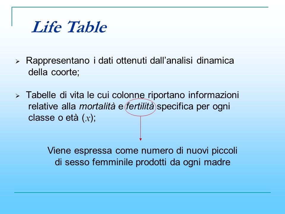 Life Table Rappresentano i dati ottenuti dall'analisi dinamica