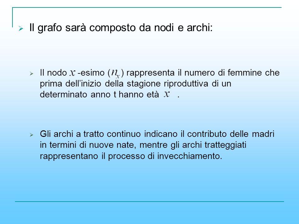 Il grafo sarà composto da nodi e archi: