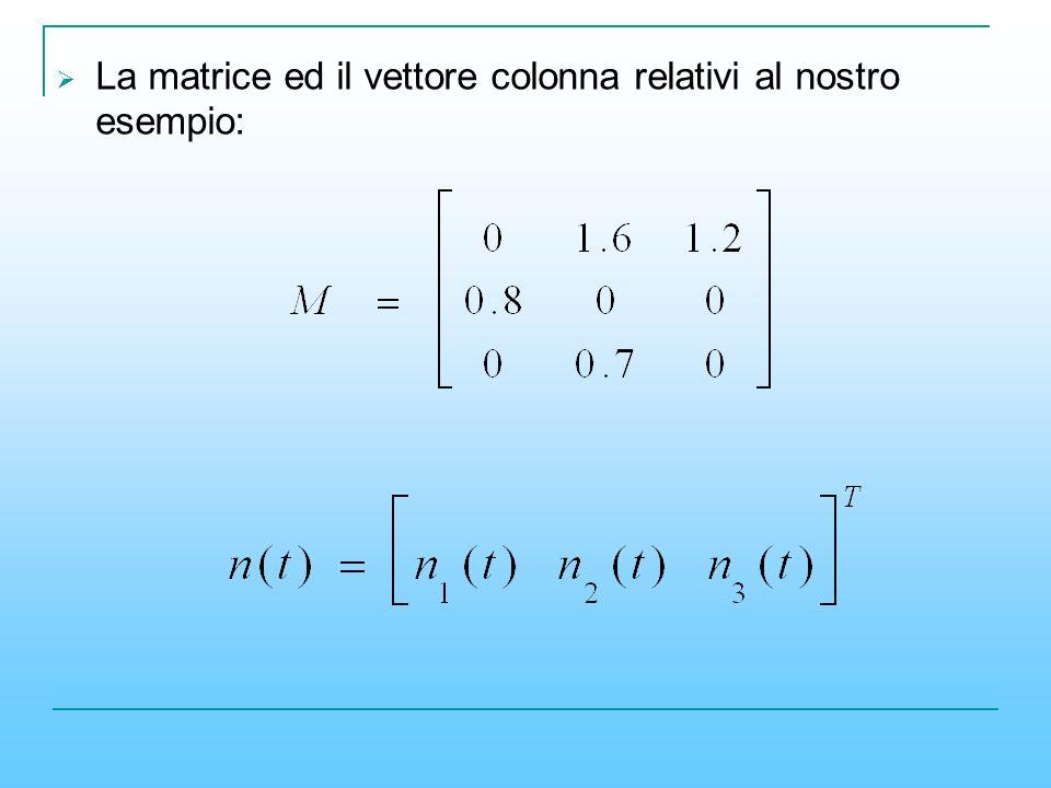 La matrice ed il vettore colonna relativi al nostro esempio: