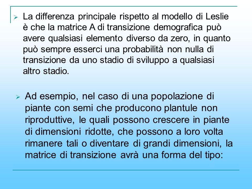 La differenza principale rispetto al modello di Leslie è che la matrice A di transizione demografica può avere qualsiasi elemento diverso da zero, in quanto può sempre esserci una probabilità non nulla di transizione da uno stadio di sviluppo a qualsiasi altro stadio.