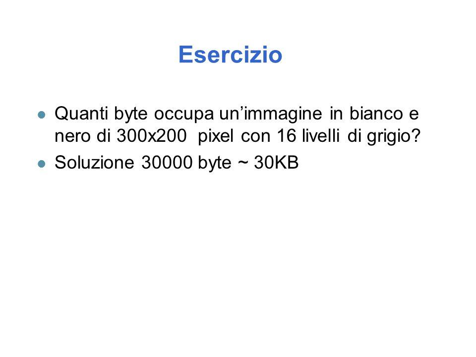 Esercizio Quanti byte occupa un'immagine in bianco e nero di 300x200 pixel con 16 livelli di grigio