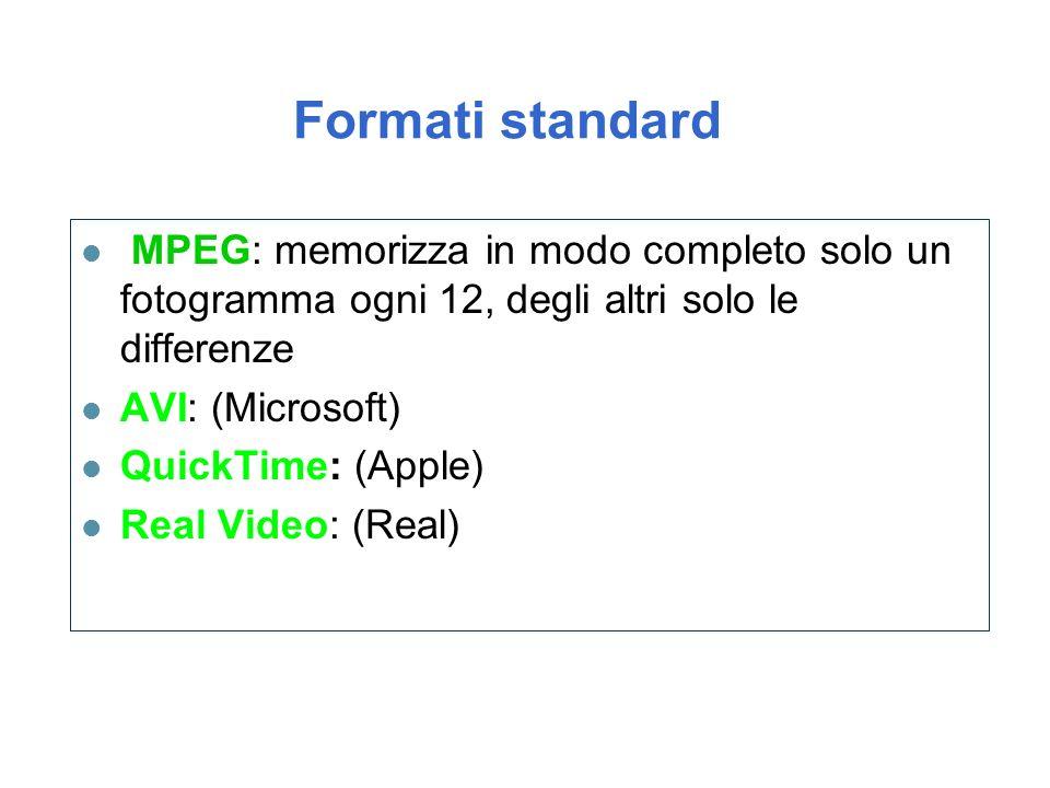 Formati standard MPEG: memorizza in modo completo solo un fotogramma ogni 12, degli altri solo le differenze.