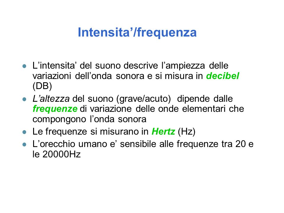 Intensita'/frequenza