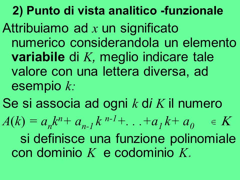 2) Punto di vista analitico -funzionale