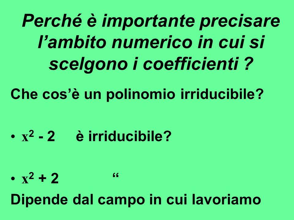Perché è importante precisare l'ambito numerico in cui si scelgono i coefficienti