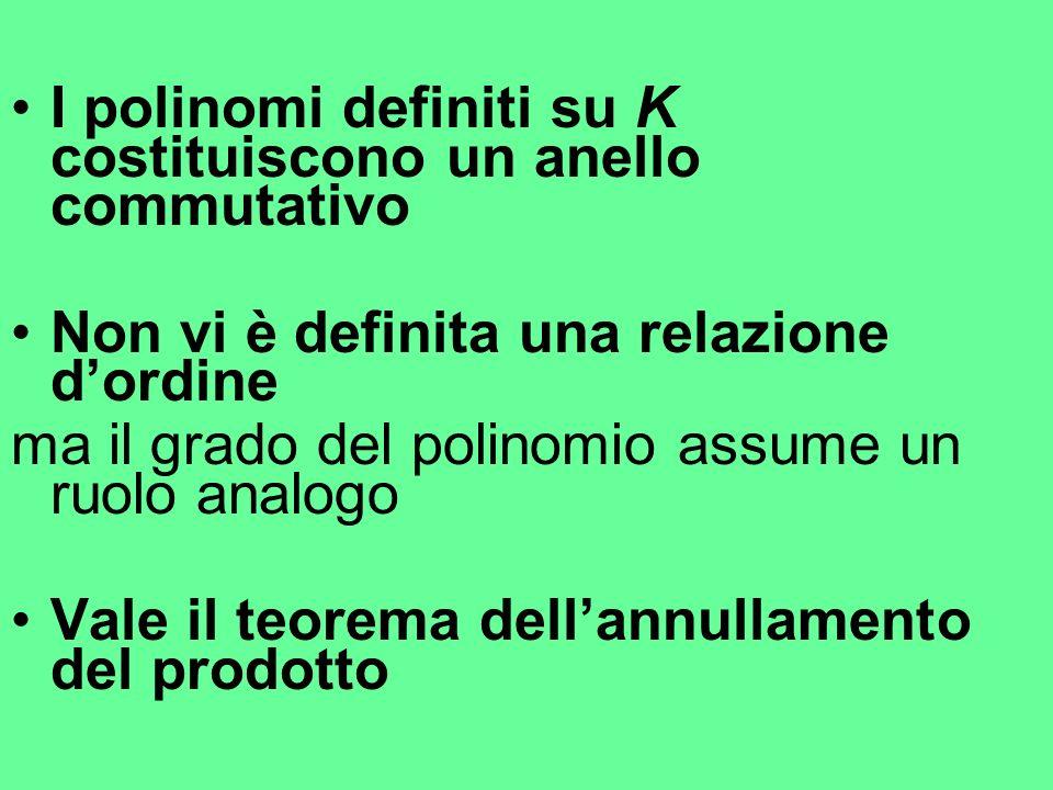 I polinomi definiti su K costituiscono un anello commutativo
