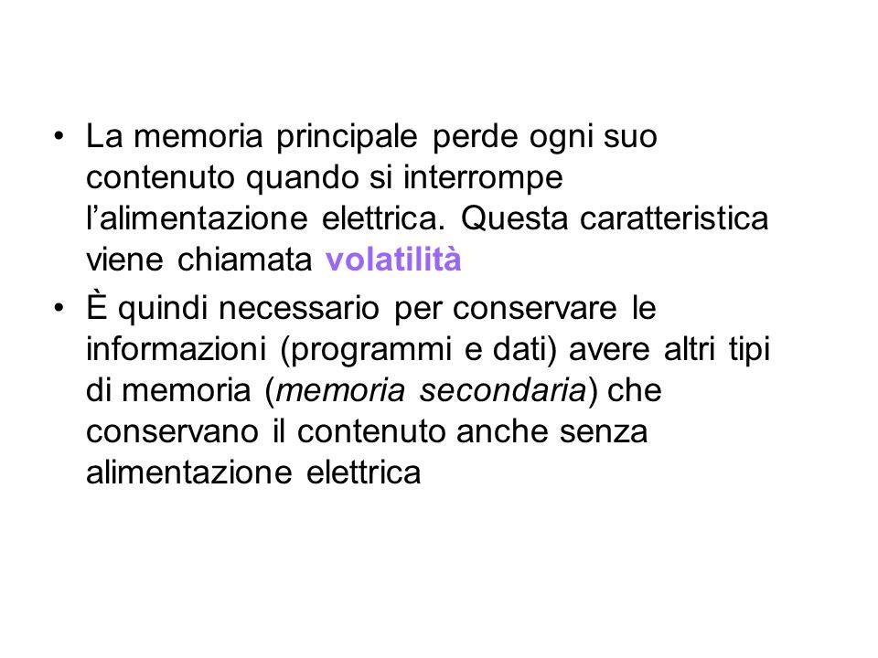 La memoria principale perde ogni suo contenuto quando si interrompe l'alimentazione elettrica. Questa caratteristica viene chiamata volatilità