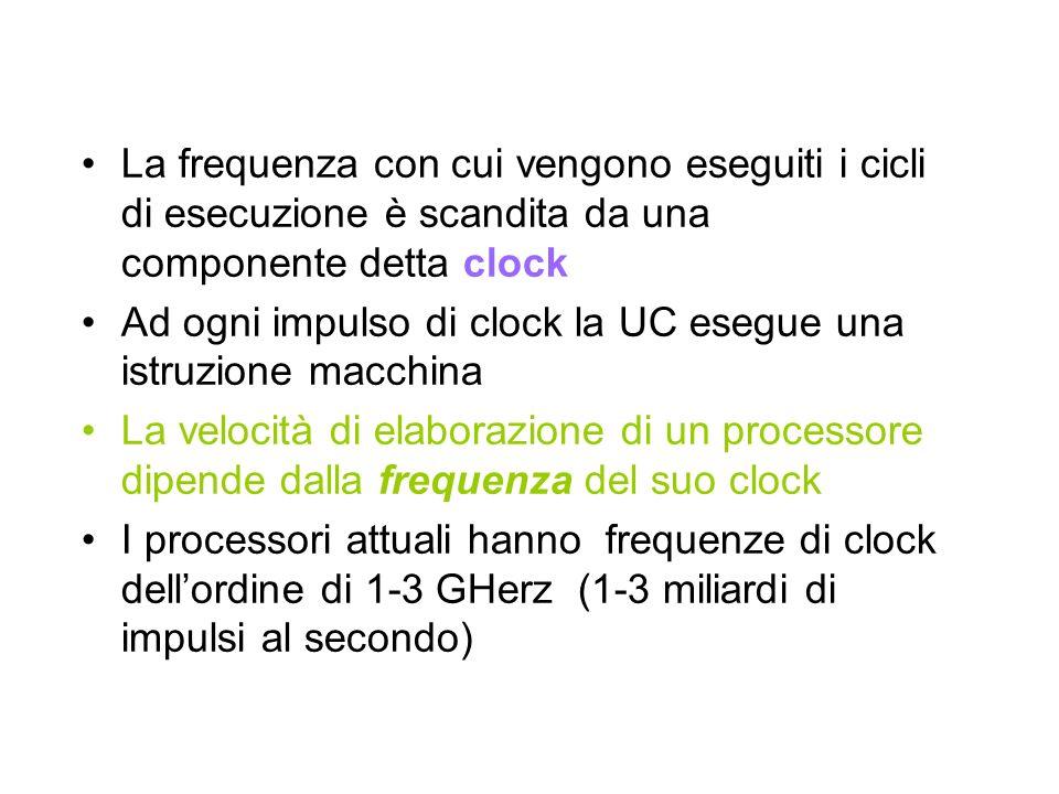 La frequenza con cui vengono eseguiti i cicli di esecuzione è scandita da una componente detta clock