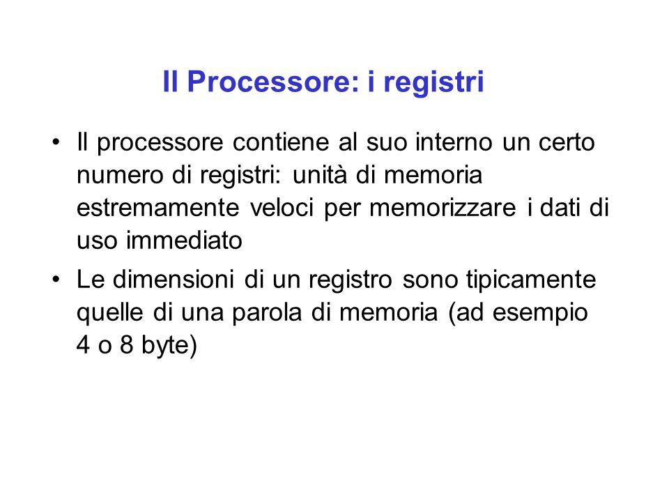 Il Processore: i registri