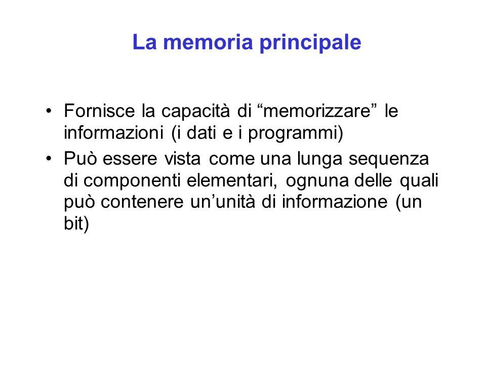 La memoria principale Fornisce la capacità di memorizzare le informazioni (i dati e i programmi)